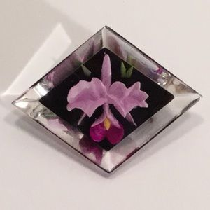 Vintage Lucite Brooch with Embedded Orchid